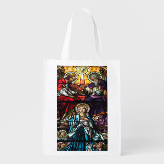 Coronation of Blessed Virgin Mary Stained Glass Reusable Grocery Bag