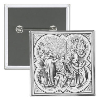 Coronation of Charlemagne (742-814) after a miniat 2 Inch Square Button