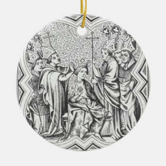Coronation of Charlemagne (742-814) after a miniat Ceramic Ornament