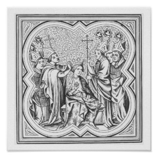 Coronation of Charlemagne (742-814) after a miniat Poster