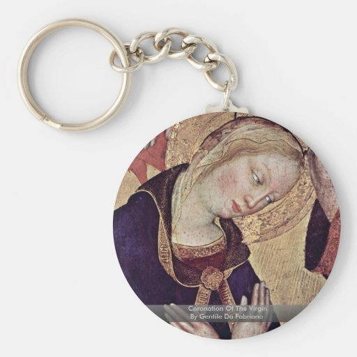 Coronation Of The Virgin  By Gentile Da Fabriano Basic Round Button Keychain