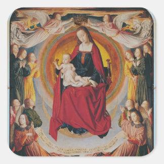 Coronation of the Virgin centre panel Square Stickers