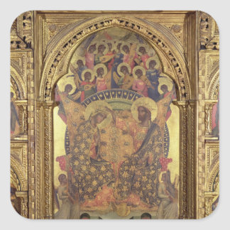 Coronation of the Virgin (detail of the polyptych) Square Sticker