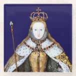 """Coronation of Tudor Queen Elizabeth I Glass Coaster<br><div class=""""desc"""">Elizabeth was the Queen of England and Ireland from 1558 until her death. She was known as the virgin Queen and produced no heirs. Her father was Henry VIII. Her mother, Henry&#39;s second wife Anne Boleyn, was executed two years after Elizabeth&#39;s birth. Elizabeth I was the final Monarch of the...</div>"""