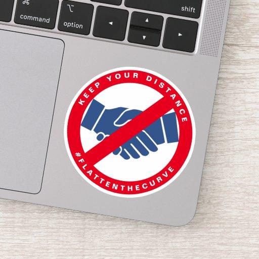 Coronavirus No Handshake #FLATTENTHECURVE Red Sticker