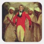 Coronel Colin Mackenzie y sus pandits indios Pegatina Cuadrada