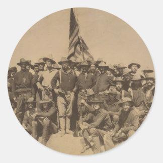 Coronel Roosevelt y su Rough Riders Pegatina Redonda