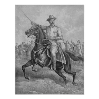 Coronel Theodore Roosevelt a caballo Póster