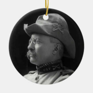 Coronel Theodore Roosevelt a partir de 1898 Adorno Navideño Redondo De Cerámica