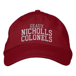 coroneles de los nicholls del geaux - rojo gorras de béisbol bordadas