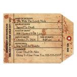 "Coroner Toe Tag Halloween Or Birthday Invitation 5"" X 7"" Invitation Card"