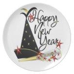 Coronilla de la celebración de la Feliz Año Nuevo Plato