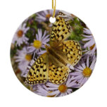 Coronis Fritillary on Aster Flowers at Grand Teton Ceramic Ornament