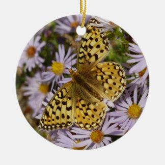 Coronis Fritillary on Aster Flowers at Grand Teton Ceramic Ornament