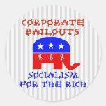 Corporate Bailouts Classic Round Sticker