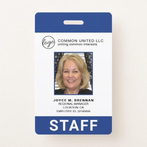 Corporate Blue Company Logo Employee Photo ID Badge