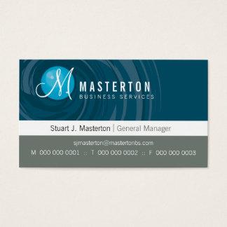 CORPORATE BUSINESS CARD cyclone monogram blue grey