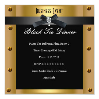 Corporate Business Formal Black Tie Gold Metal 5.25x5.25 Square Paper Invitation Card