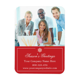 Corporate Business Photo Holiday Christmas Rectangular Magnets