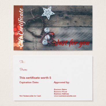 Corporate Business Rustic Holiday Gift Certificate