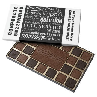 Corporate Buzzwords Business Jargon Typography Art 45 Piece Box Of Chocolates