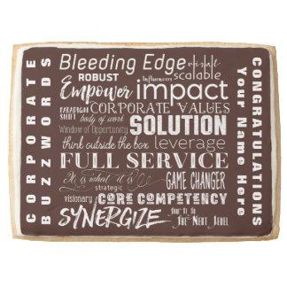 Corporate Buzzwords Business Jargon Typography Art Jumbo Shortbread Cookie