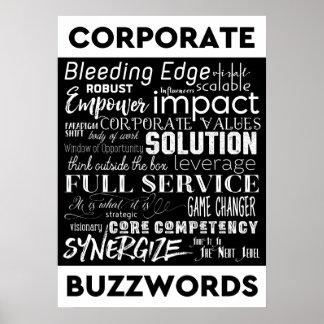 Corporate Buzzwords Business Jargon Typography Art Poster