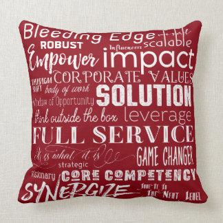 Corporate Buzzwords Business Jargon Typography Art Throw Pillow