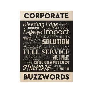 Corporate Buzzwords Business Jargon Typography Art Wood Poster