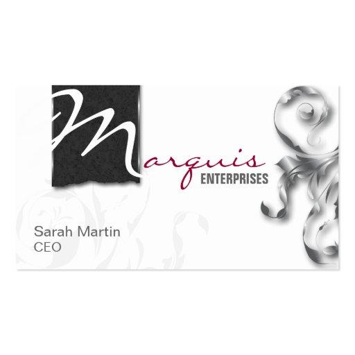 Corporate CEO Business Card Elegant Monogram Grey