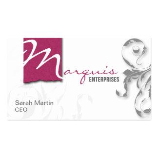 Corporate CEO Business Card Elegant Monogram Pink
