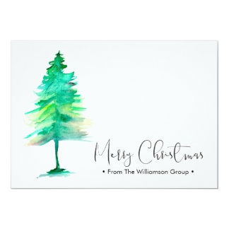 Corporate Christmas, Watercolor-pinetree, Card