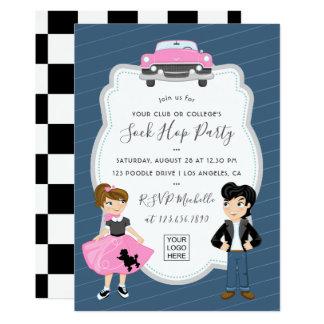 Corporate/Club/College/School Sock Hop Retro Party Card