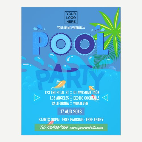 Corporate/Club Summer Pool Party Invitation Flyer