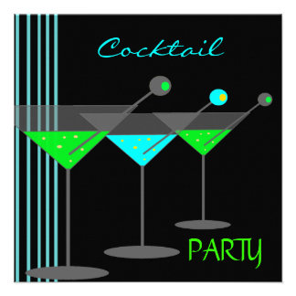 Corporate Cocktail Party Drinks Martini Blue Green Announcement