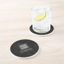 Corporate Custom Logo Modern Dark Marble Coaster