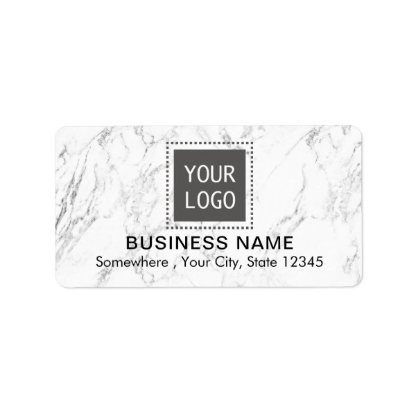 Corporate Custom Logo Modern White Marble Business Label