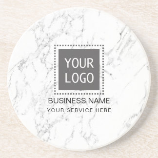 Corporate Custom Logo Modern White Marble Coaster