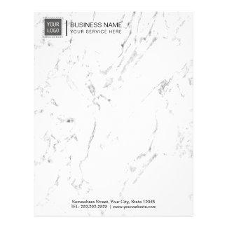 Corporate Custom Logo Modern White Marble Letterhead