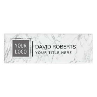Corporate Custom Logo Modern White Marble Name Tag