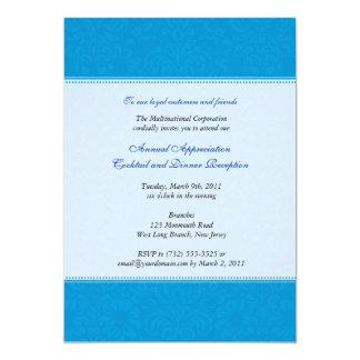 "Corporate Damask Cerulean 5"" X 7"" Invitation Card"