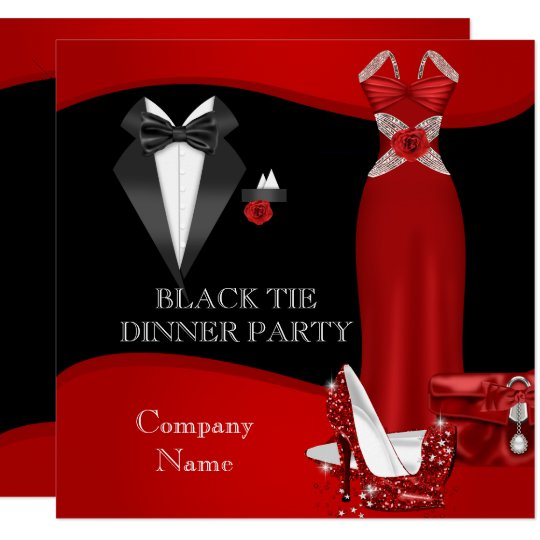 corporate formal dinner party black tie red 3 invitation