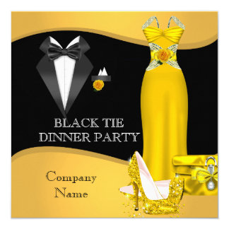 Corporate Formal Dinner Party Black Tie Yellow 2 5.25x5.25 Square Paper Invitation Card
