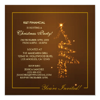 Corporate Golden Christmas Tree Lights Card