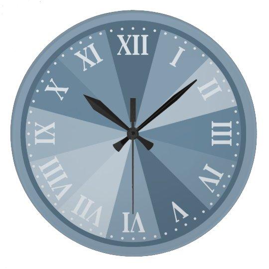 Corporate Gray Blue Roman Numeral Elegant Large Clock