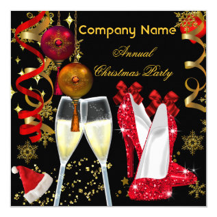 Corporate Holiday Christmas Party Champagne Heels Card at Zazzle