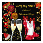 "Corporate Holiday Christmas Party Champagne Heels 5.25"" Square Invitation Card"