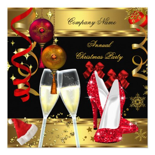 Corporate Holiday Christmas Party Champagne Heels Personalized Invitations