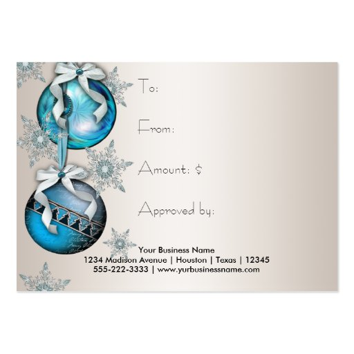 Corporate Holiday Gift Certificates Business Card Templates (back side)