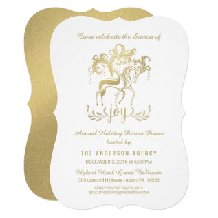 Corporate Holiday Party Elegant Gold Reindeer Card at Zazzle